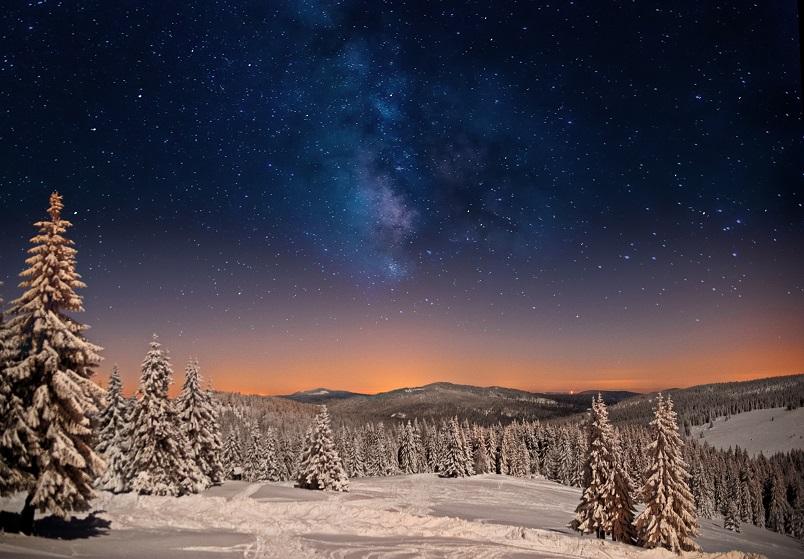 Gorce zimą.. Nocne niebo